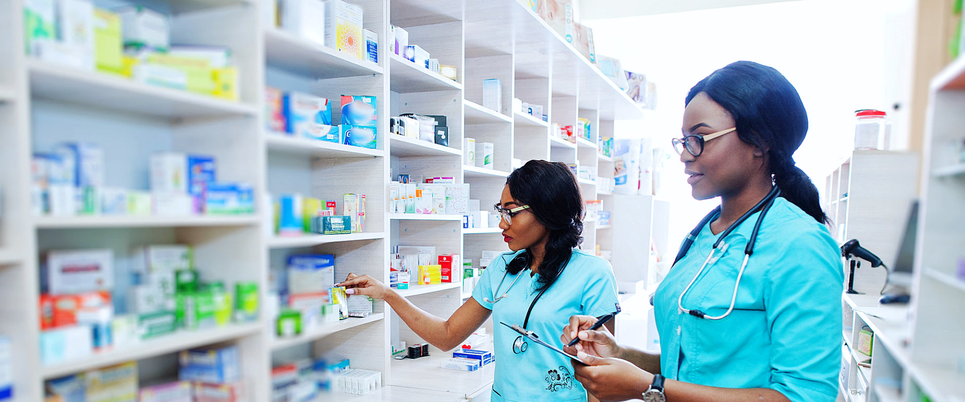 pharmacists showing doing inventory