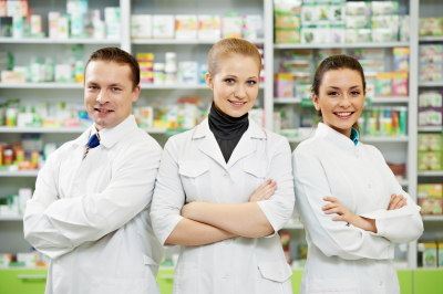 group of pharmacist smiling